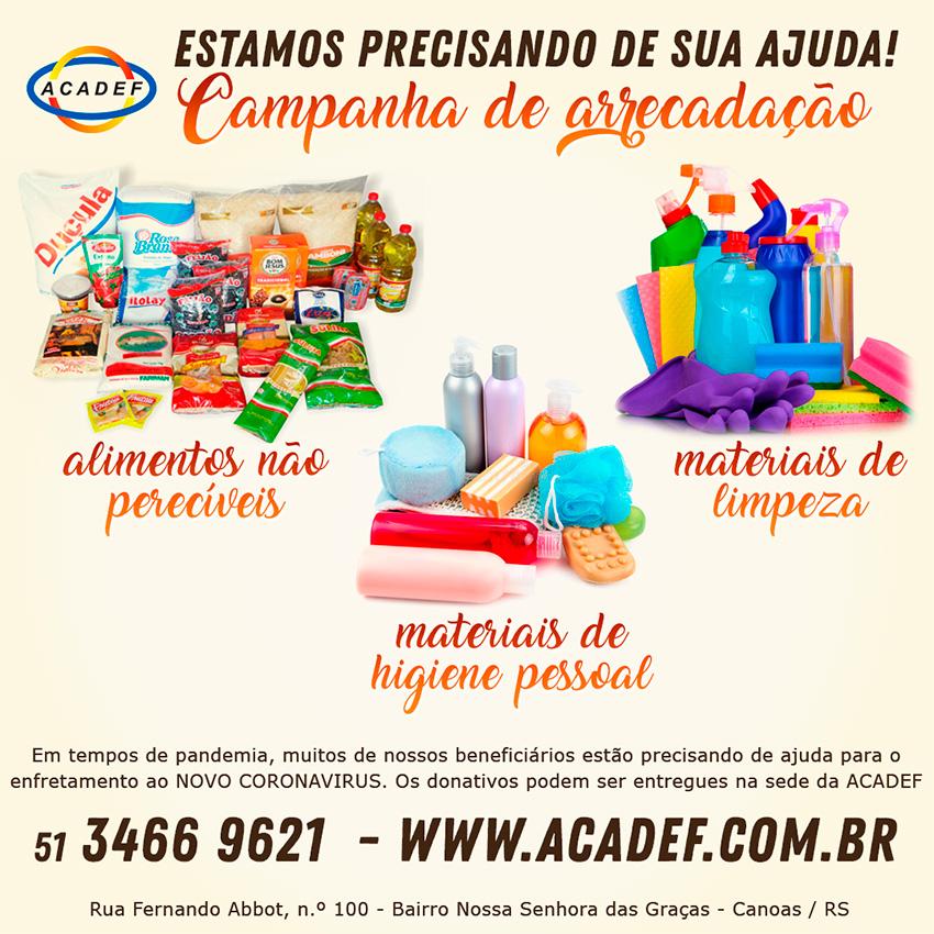 Banner da campanha de arrecadação imagens de alimentos não perecíveis, material de limpeza e de higiene pessoal